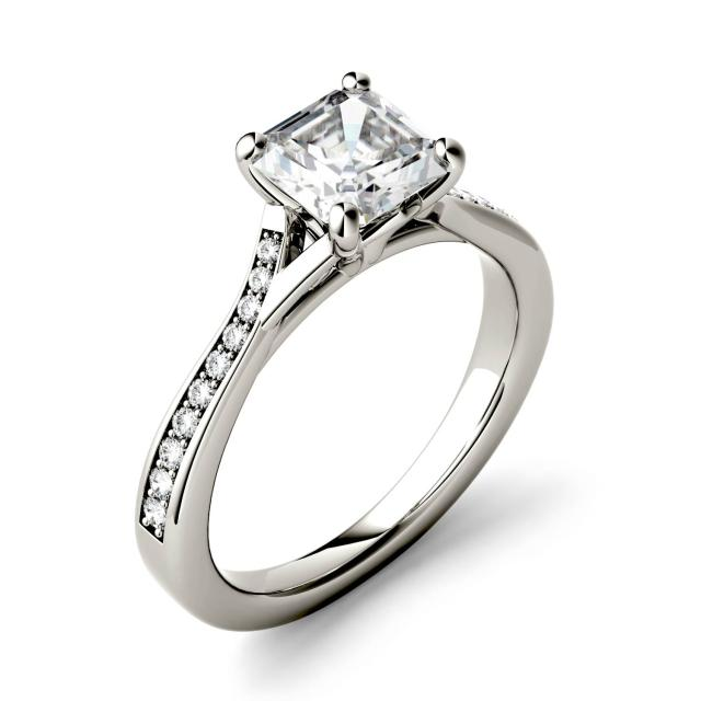 Forever One 1.43CTW Asscher Moissanite Solitaire with Side Accents Engagement Ring in 14K White Gold