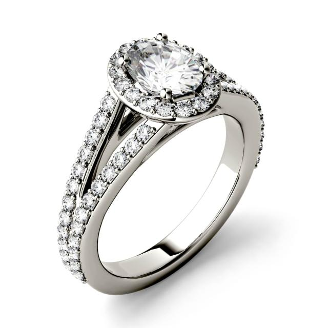 1.54 CTW DEW Oval Forever One Moissanite Split Shank Halo with Side Accents Engagement Ring in 14K White Gold