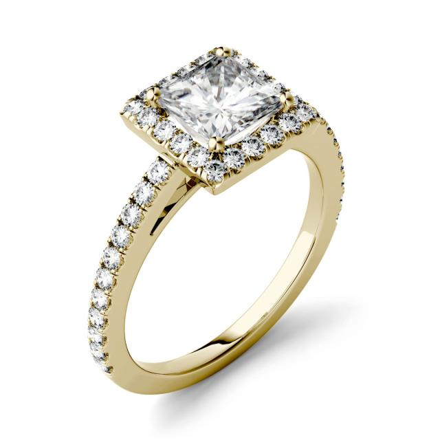 1.42 CTW DEW Square Forever One Moissanite Halo with Side Accents Engagement Ring in 14K Yellow Gold