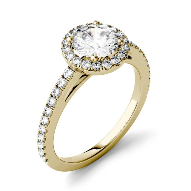 1.40 CTW DEW Round Forever One Moissanite Halo with Side Accents Engagement Ring in 14K Yellow Gold