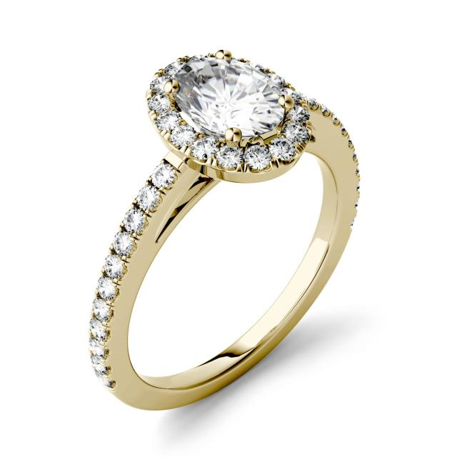 1.28 CTW DEW Oval Forever One Moissanite Halo with Side Accents Engagement Ring in 14K Yellow Gold