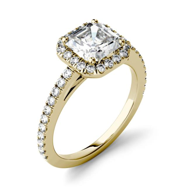 1.71 CTW DEW Asscher Forever One Moissanite Halo with Side Accents Engagement Ring in 14K Yellow Gold