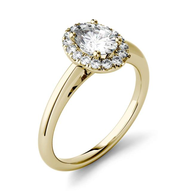 Forever One 1.06CTW Oval Moissanite Halo Engagement Ring in 14K Yellow Gold