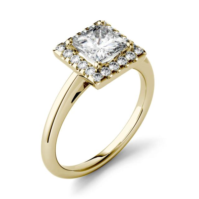 Forever One 1.10CTW Princess Moissanite Halo Engagement Ring in 14K Yellow Gold