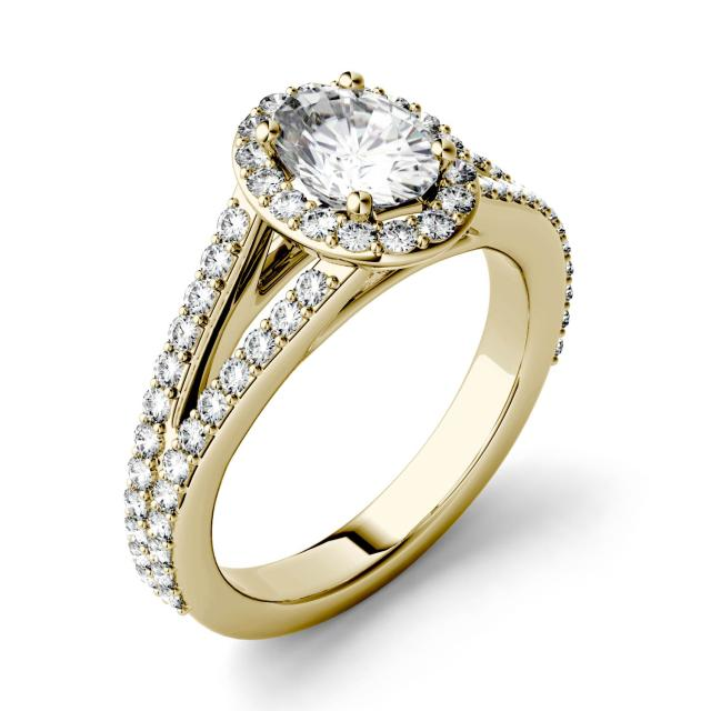 1.54 CTW DEW Oval Forever One Moissanite Split Shank Halo with Side Accents Engagement Ring in 14K Yellow Gold