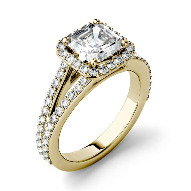 1.98 CTW DEW Asscher Forever One Moissanite Split Shank Halo with Side Accents Engagement Ring in 14K Yellow Gold