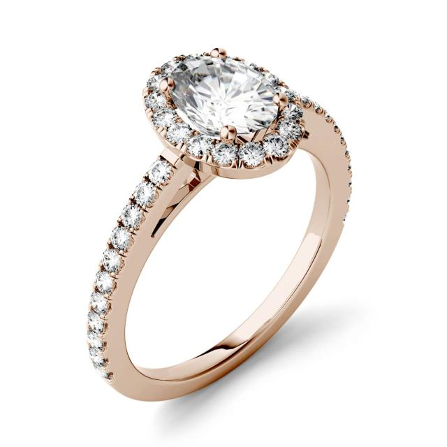 1.28 CTW DEW Oval Forever One Moissanite Halo with Side Accents Engagement Ring in 14K Rose Gold