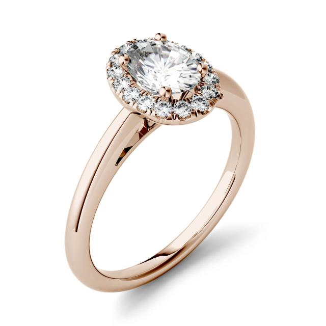 1.06 CTW DEW Oval Forever One Moissanite Halo Engagement Ring in 14K Rose Gold