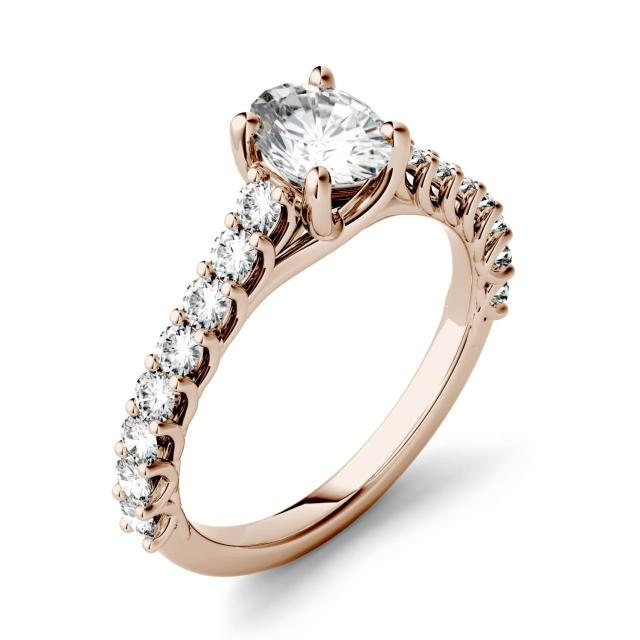 1.38 CTW DEW Oval Forever One Moissanite Solitaire with Side Accents Engagement Ring in 14K Rose Gold