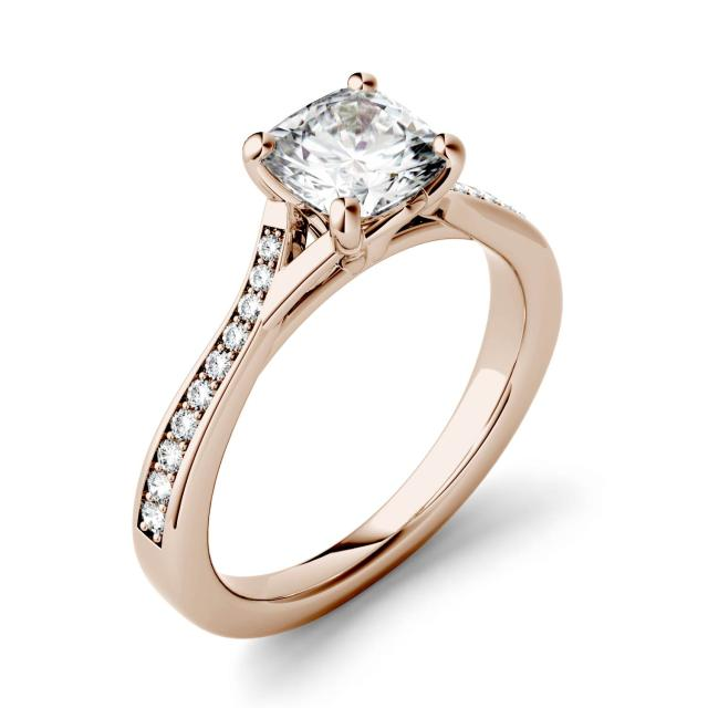 Forever One 1.23CTW Cushion Moissanite Solitaire with Side Accents Engagement Ring in 14K Rose Gold