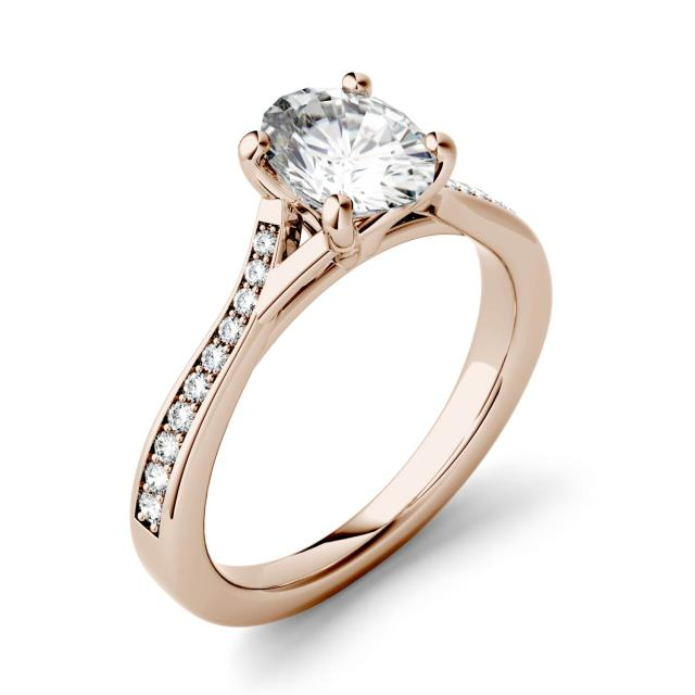 1.03 CTW DEW Oval Forever One Moissanite Solitaire with Side Accents Engagement Ring in 14K Rose Gold