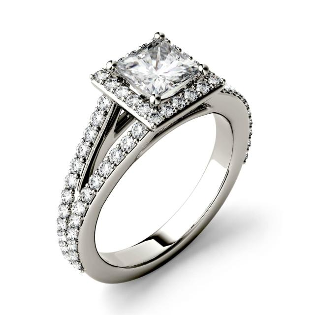 1.68 CTW DEW Square Forever One Moissanite Split Shank Halo with Side Accents Engagement Ring in 14K White Gold
