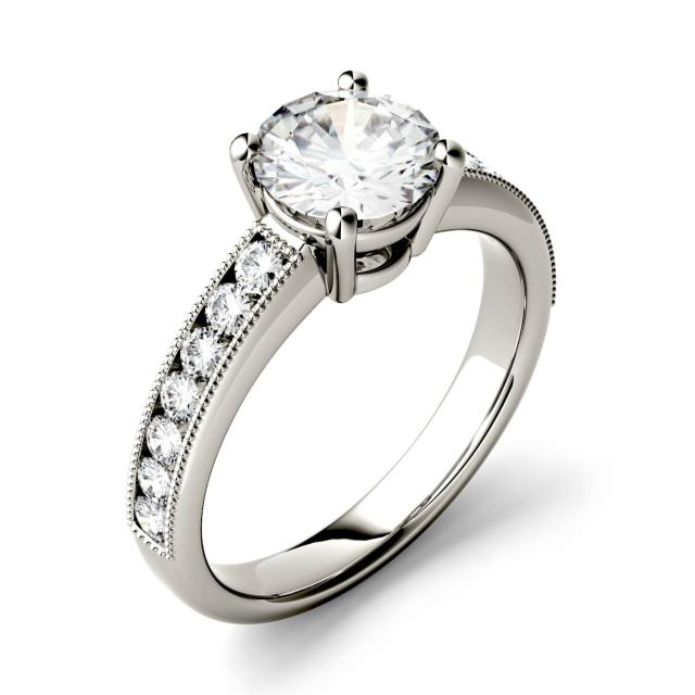 Forever One 1.42CTW Round Moissanite Solitaire with Milgrain Side Accents Engagement Ring in 14K White Gold