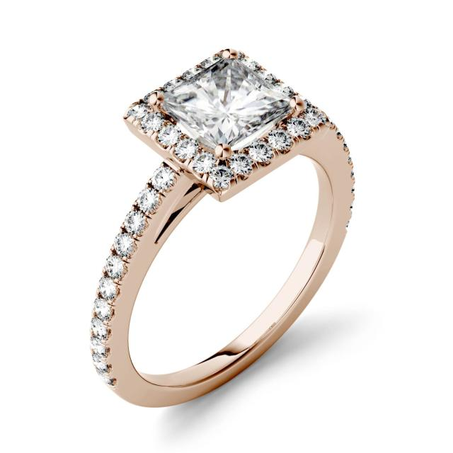 Forever One 1.32CTW Princess Moissanite Halo and Side Accents Ring in 14K Rose Gold