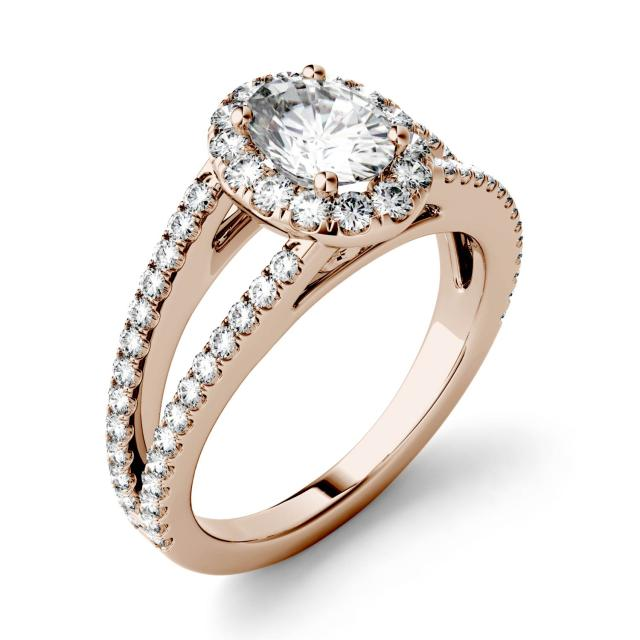 Forever One 1.53CTW Oval Moissanite Split Shank Halo with Side Accents Engagement Ring in 14K Rose Gold