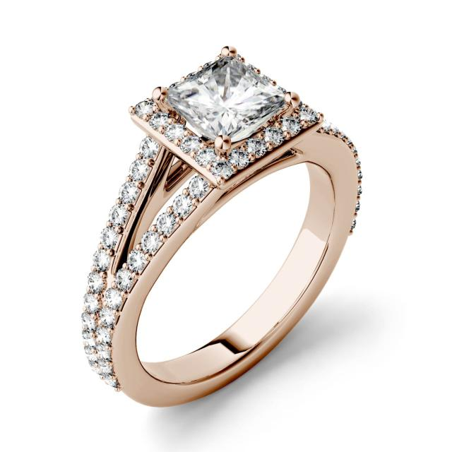 1.68 CTW DEW Square Forever One Moissanite Split Shank Halo with Side Accents Engagement Ring in 14K Rose Gold