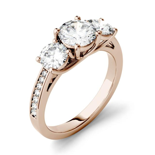 Forever One 2.14CTW Round Moissanite Three Stone with Side Accents Ring in 14K Rose Gold