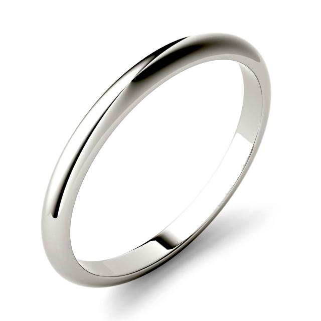 Domed Stackable Band in 14K White Gold