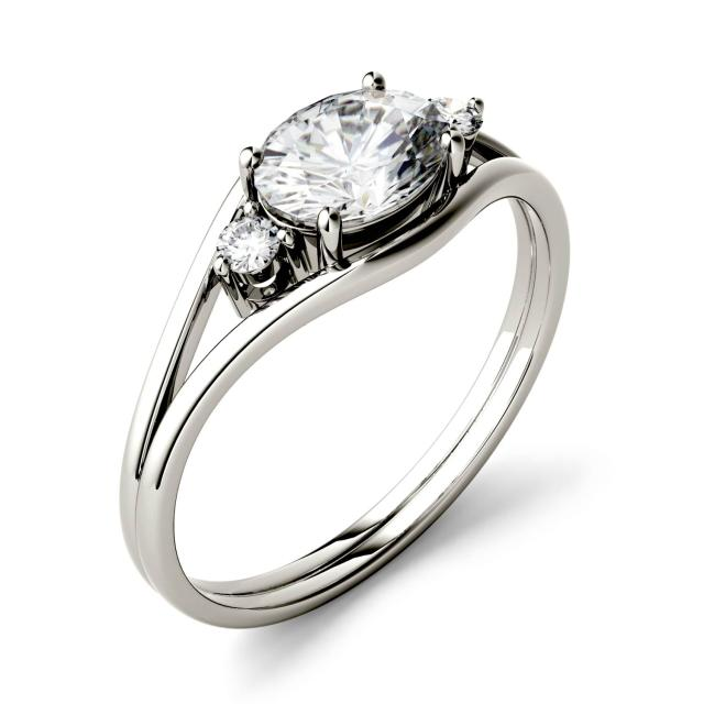 Forever One 0.96CTW Oval Moissanite East-West Fashion Ring in 14K White Gold