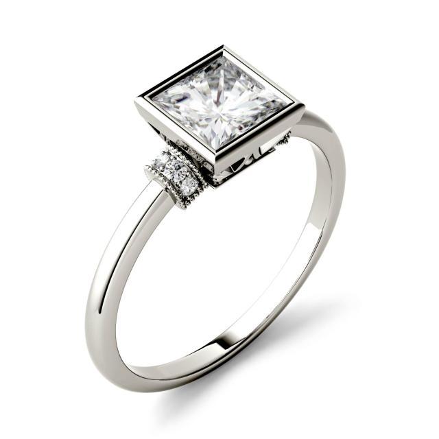 1.04 CTW DEW Square Forever One Moissanite Bezel Set Fashion Ring in 14K White Gold