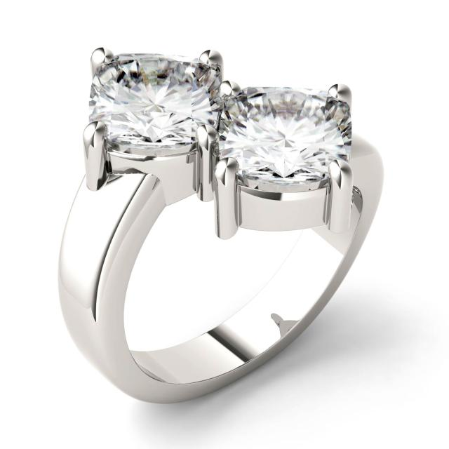 4.80 CTW DEW Cushion Forever One Moissanite Two Stone Ring in 14K White Gold