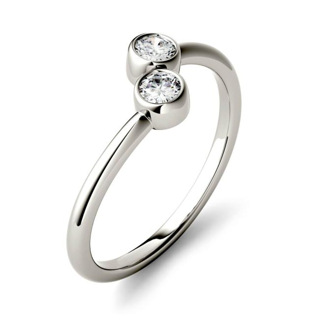 0.20 CTW DEW Round Forever One Moissanite Bezel Set Two Stone Fashion Ring in 14K White Gold