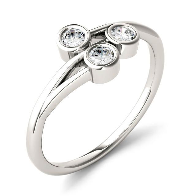 0.30 CTW DEW Round Forever One Moissanite Three Stone Bezel Set Ring in 14K White Gold