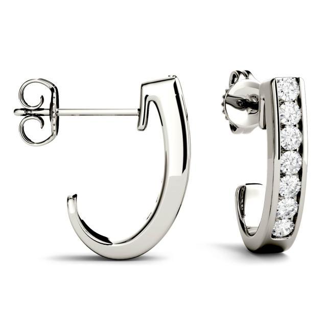 0.42 CTW Round Forever One Moissanite J-Hoop Earrings in 14K White Gold
