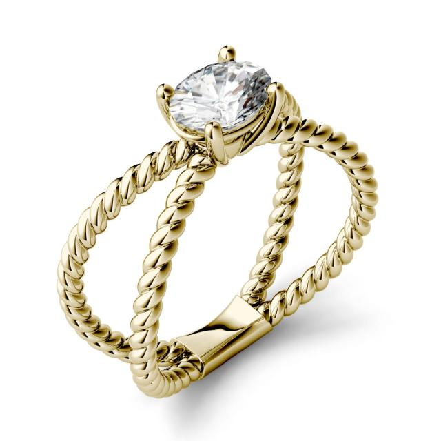 Forever One 0.90CTW Oval Moissanite Split Shank Fashion Ring in 14K Yellow Gold