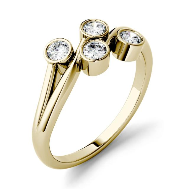 0.40 CTW DEW Round Forever One Moissanite Bezel Set Four Stone Fashion Ring in 14K Yellow Gold