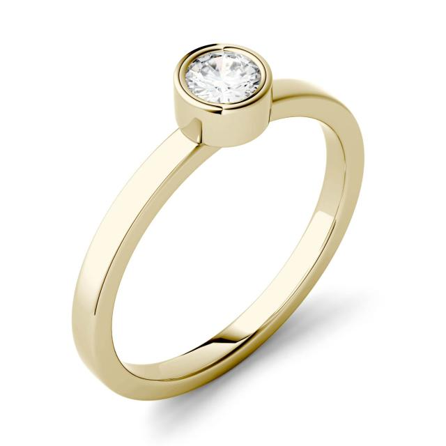 0.23 CTW DEW Round Forever One Moissanite Bezel Set Fashion Ring in 14K Yellow Gold