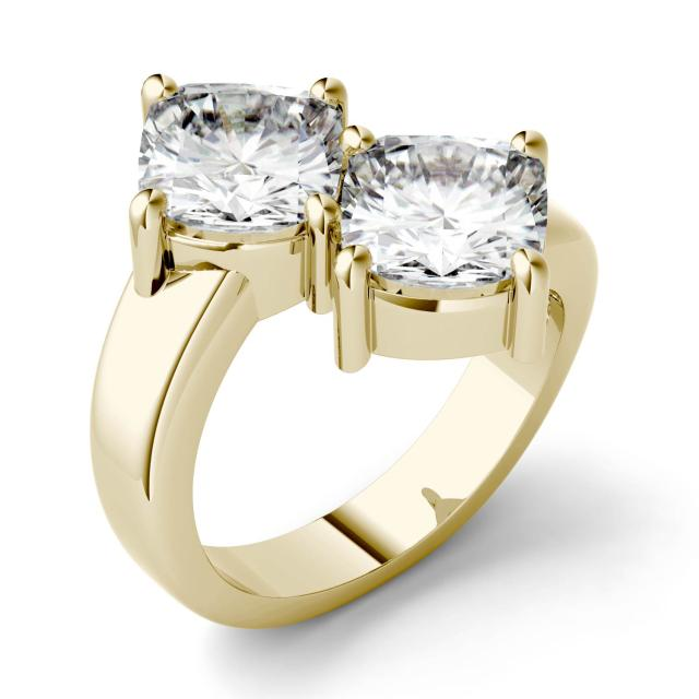 4.80 CTW DEW Cushion Forever One Moissanite Two Stone Ring in 14K Yellow Gold