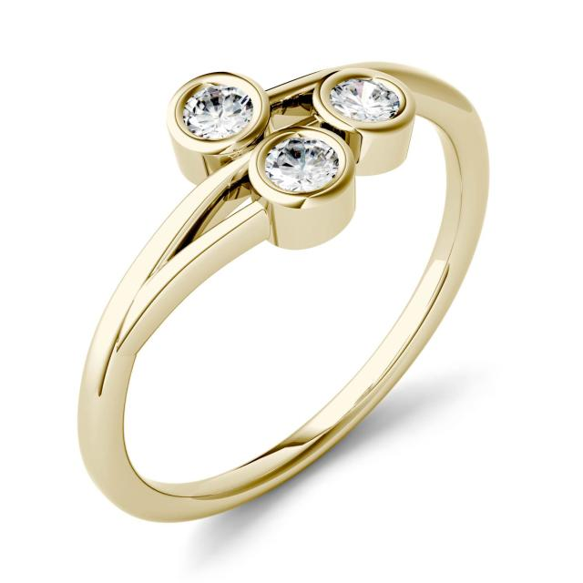 0.30 CTW DEW Round Forever One Moissanite Three Stone Bezel Set Ring in 14K Yellow Gold