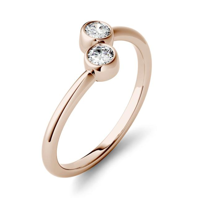 0.20 CTW DEW Round Forever One Moissanite Bezel Set Two Stone Fashion Ring in 14K Rose Gold