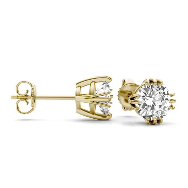 2.00 CTW Round Forever One Moissanite Triple Prong Solitaire Stud Earrings in 14K Yellow Gold