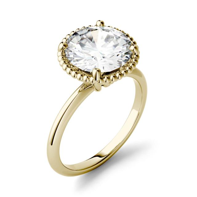 0.60 CTW DEW Round Forever One Moissanite Beaded Solitaire Engagement Ring in 14K Yellow Gold