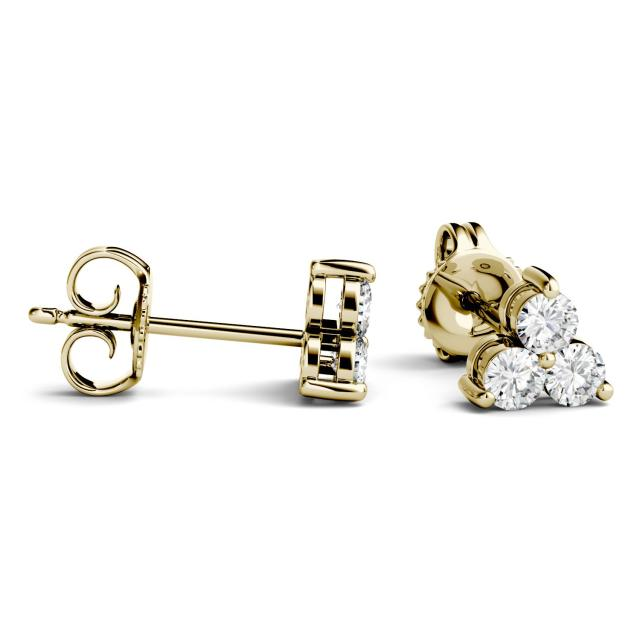 0.36 CTW Round Forever One Moissanite Trio Stud Earrings in 14K Yellow Gold