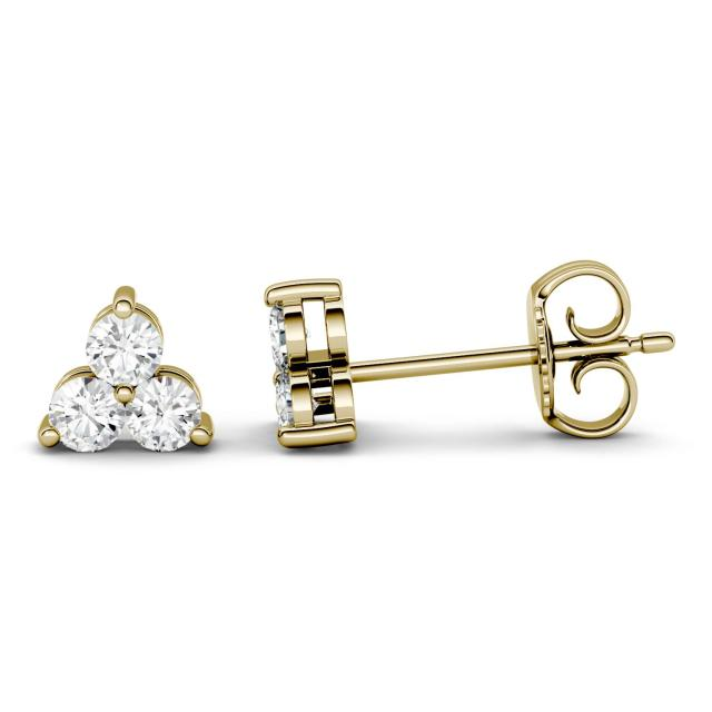 0.36 CTW DEW Round Forever One Moissanite Trio Stud Earrings in 14K Yellow Gold