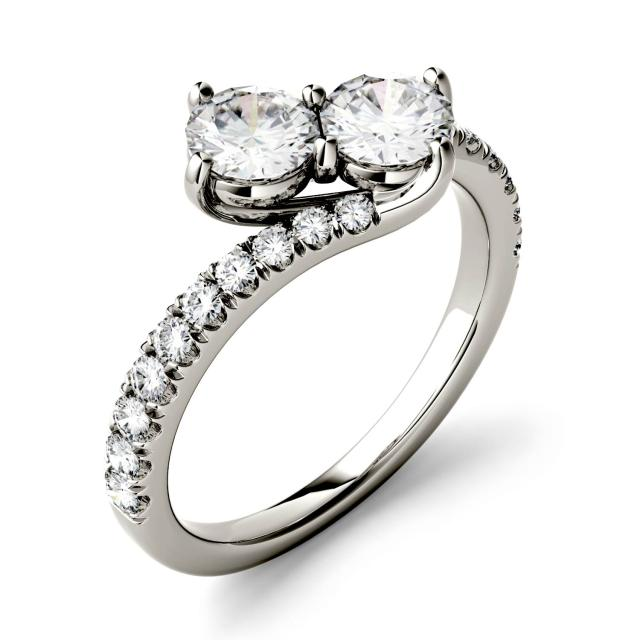 Forever One 1.47CTW Round Moissanite Two Stone Ring in 14K White Gold