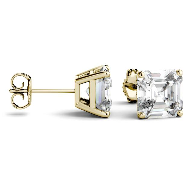 6.28 CTW Asscher Forever One Moissanite Four Prong Solitaire Stud Earrings in 14K Yellow Gold
