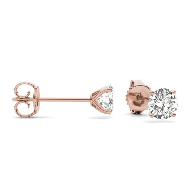 1.60 CTW Round Forever One Moissanite Four Prong Martini Solitaire Stud Earrings in 14K Rose Gold
