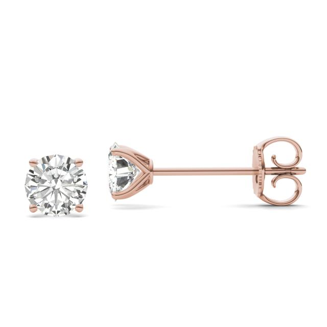 1.60 CTW DEW Round Forever One Moissanite Four Prong Martini Solitaire Stud Earrings in 14K Rose Gold