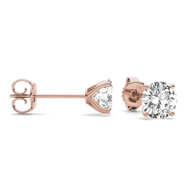 3.00 CTW Round Forever One Moissanite Four Prong Martini Solitaire Stud Earrings in 14K Rose Gold