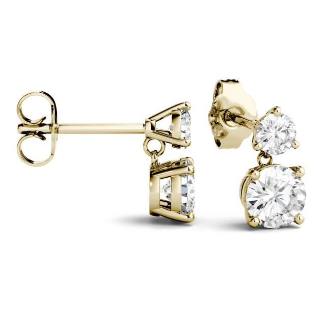 2.06 CTW Round Forever One Moissanite Two Stone Drop Earrings in 14K Yellow Gold