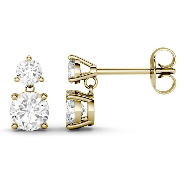 2.06 CTW DEW Round Forever One Moissanite Two Stone Drop Earrings in 14K Yellow Gold Stone Color JK