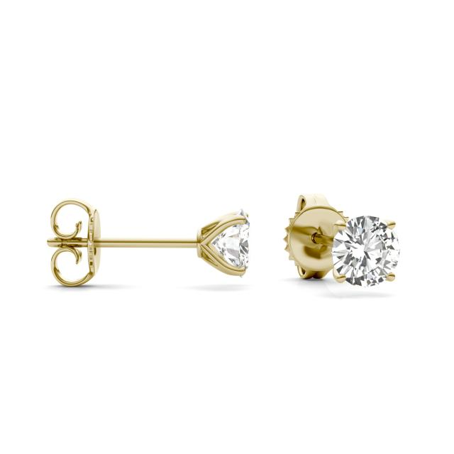 1.00 CTW Round Forever One Moissanite Four Prong Martini Solitaire Stud Earrings in 14K Yellow Gold