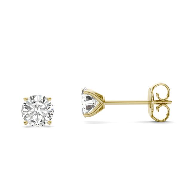 1.00 CTW DEW Round Forever One Moissanite Four Prong Martini Solitaire Stud Earrings in 14K Yellow Gold