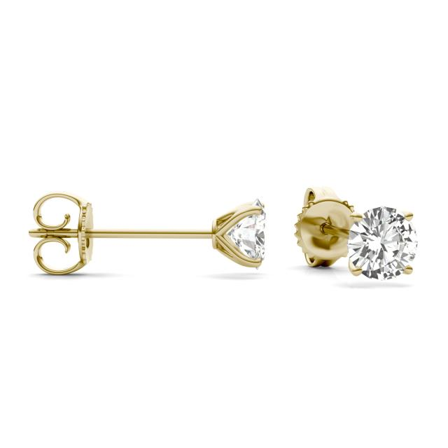 2.40 CTW Round Forever One Moissanite Four Prong Martini Solitaire Stud Earrings in 14K Yellow Gold
