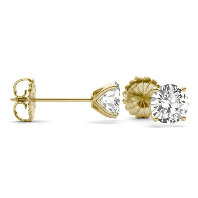 3.80 CTW Round Forever One Moissanite Four Prong Martini Solitaire Stud Earrings in 14K Yellow Gold