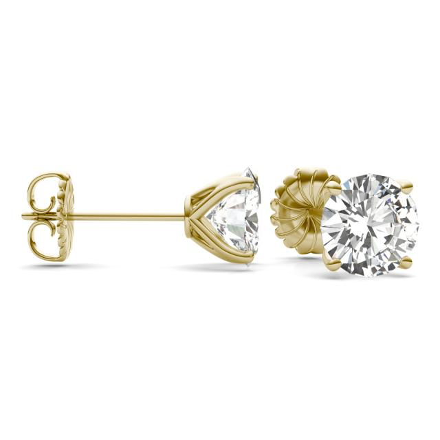 5.40 CTW Round Forever One Moissanite Four Prong Martini Solitaire Stud Earrings in 14K Yellow Gold